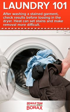 31 best laundry 101 tips tricks images on pinterest laundry after washing a stained garment check results before tossing in the dryer heat can solutioingenieria Images