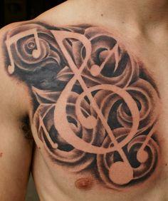 Musical Chest Piece Tattoo