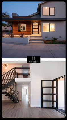 Modern Exterior House Designs, Modern Farmhouse Exterior, Modern House Plans, Modern House Design, Modern Entrance, Modern Staircase, Interior Architecture, Exterior Colors, Dream Homes