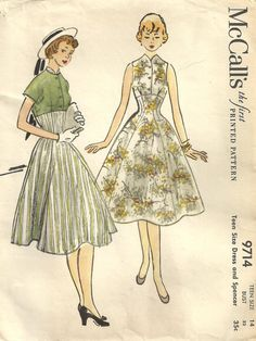 McCalls 9714 Vintage 50s Sewing Pattern Dress And Jacket Size 14