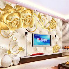 Atacado 3d murais papel de parede papel de parede TV fundo mural flor ouro saco de fotografia suave mural europeia mural wallcovering(China (Mainland))