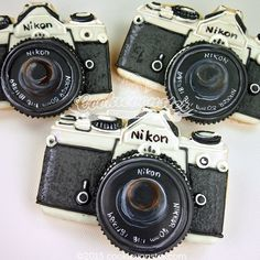 """Cookie-camera says """"cheese""""!!!  #camera #cookieart #DecoratedCookies #cookievonster #vancouver #photography #nikon #cookie #celebrations #yvr #vancity"""