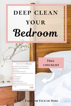 When it's time to consider deep cleaning your bedroom, check out my free checklist to get you started (and help you finish the job! Clean everything from the ceiling to the floor in one day or over a few days depending on your schedule and preference. Bedroom Cleaning, Clean Bedroom, Master Bedroom, Deep Cleaning Checklist, Cleaning Hacks, Organization Hacks, Organizing, Bedroom Table, Wash Pillows