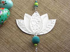 Embossed Metal Lotus Flower Design, Hanging Decoration, Bohemian Decor, Turquoise Teal. $34.00, via Etsy.