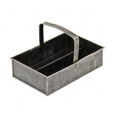 """Late 1930's vintage american industrial cold-rolled steel """"han-d-tray"""" portable storage tote with oversized rolled rim handle. #industrial # vintage #antique"""