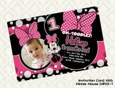 Disney MINNIE MOUSE Pink (with photo) Birthday Party Invitation - DIY Printable - Digyparty's on CraftIsArt