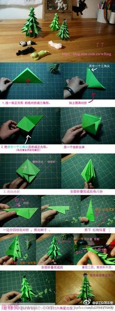 How to fold paper craft origami Christmastime tree step by step DIY tutorial instructions / How To Instructions Origami Christmas Tree, Noel Christmas, All Things Christmas, Winter Christmas, Christmas Ornaments, Xmas Trees, Paper Crafts Origami, Diy Origami, Diy Paper