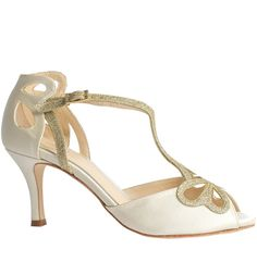 Bella cream butterfly wedding shoe #bridal-sandal #dance-shoe #t-bar-sandal