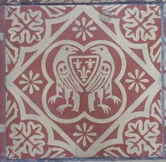 Victorian copies of medieval tiles from St Mary's Church in Shrewsbury