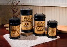 Olde Country Kitchen Canisters - Set of 4