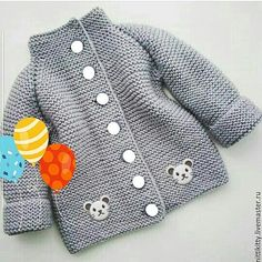 Baby Boy Cardigan, Knitted Baby Cardigan, Knitted Baby Clothes, Knitted Gloves, Knitting For Kids, Baby Knitting Patterns, Knitting Ideas, Crochet Baby, Knit Crochet