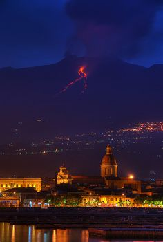 Mount Etna Eruption in Riposto; Sicily, Italy. I miss this big, beautiful volcano with all my heart. Sometimes when I'm driving I'll see what looks like her peak between two trees, only to realize a second later it is a cloud. Then I feel just a little sad. #etna #sicilia #sicily #etnavolcano