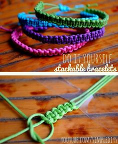 Learn how to make stackable square knot/cobra stitch bracelets. Pin now, watch later! Learn how to make stackable square knot/cobra stitch bracelets. Pin now, watch later! Square Knot Bracelets, Bracelets Diy, Bracelet Knots, Stackable Bracelets, Macrame Bracelets, Survival Bracelets, Anklet Bracelet, Silver Bracelets, Simple Bracelets