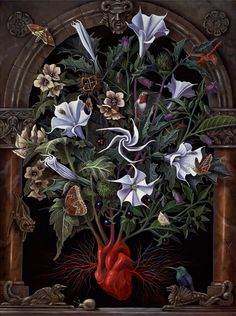 Benjamin Vierling ~ Sacred Heart  | Appears on the dust jacket of the standard edition of Veneficium: Magic, Witchcraft, and the Poison Path. The image features the emergence of Belladonna, Henbane and Datura - three plants allied to the Devil and comprising a part of the so-called 'Witches' Garden' - from a human heart.