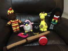 Some of the collection so far. Includes Cricket bat and ball, pink owl, cellphone cover and mason sweet jar with tuxedo and hat