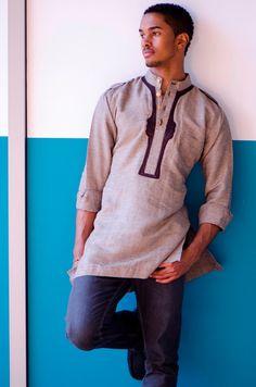 High Collar Interwoven Linen Men Top Size S/M by GLAMMfashion, $60.00