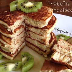 vanilla protein pancakes (recipe credit- fitgirl4me) -1 large ripe banana -2 tbs almond milk -1 egg -1/3 cup oat flour -1 tsp baking powder -2 tbs vanilla protein powder. Mix wet ingredients separate from the dry, pour batter on greased non stick pre heated pan. Cook on medium to low heat. Makes about 5 (large) cakes