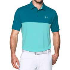 Under Armour Men's Playoff Blocked Golf Polo, Size: Large, Bayou Blue/Blue Infinity