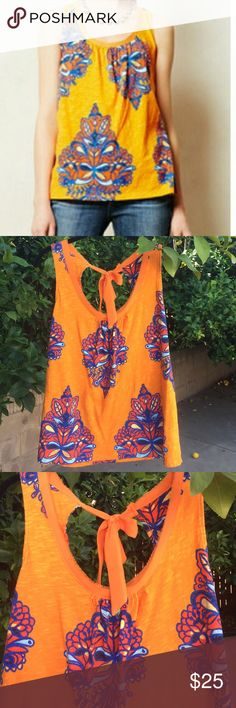 ☀️SALE☀️Akemi + Kin Akemi + Kin orange rosae tank. Good condition. Actual shirt pic 2 and on Anthropologie Tops