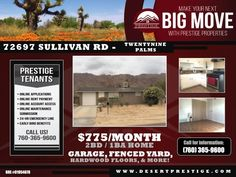 #ForLease - Available to view early April!  72697 Sullivan Rd 29 Palms, CA 92277  $775/month*  This 2 bedroom, 1 bath home located near a shopping center comes with washer/dryer hookups, swamp cooler, hardwood floors throughout, granite counter tops, attached one car garage, fenced backyard, and so much more!    🏘 PRESTIGE PROPERTIES - DESERT CITIES Lic. # 01954678 ☎️ 760.365.9600 🌎 DesertPrestige.com   #PrestigeProperties #TeamPrestige #PropertyManagement #Properties#Rentals