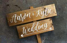 Directional Road Sign // Wood Wedding Stake by ArtAndSoulShoppe