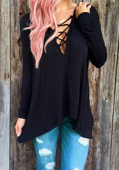 Fresh Style Hooded Solid Color Lace-Up Long Sleeve T-Shirt For Women