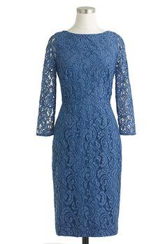 "Brides.com: . ""Natalia"" lace sheath with illusion sleeves and bateau neckline, $228, J.Crew"