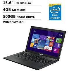 Asus 2016 Model 15.6-inch HD Laptop Premium High Performance   Intel Dual-Core   4GB Memory   500GB HDD   DVD+/-RW   HDMI   WiFi   Windows 8.1 (free upgrade to Windows 10) Upgrade To Windows 10, Windows 8, Hdd, 6 Inches, Wifi, Laptops, Core, Memories, Memoirs