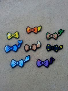 Hair Bows or Bow Ties - Pokemon Eeveelution Inspired Bows Diy Perler Bead Crafts, Diy Perler Beads, Perler Bead Art, Pearler Bead Patterns, Perler Patterns, Minecraft Pattern, Pokemon Craft, Nintendo Pokemon, Pokemon Perler Beads