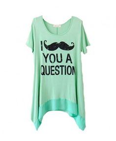 Irregular Short Sleeves Mustache and Letters Print T-shirt