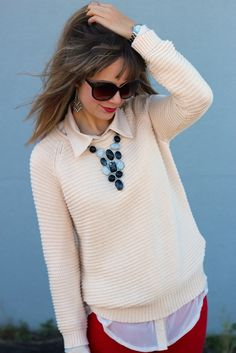 Collared shirt under a sweater with a bright colored necklace. Cuuuute!!!! With work pants or jeans days!!!