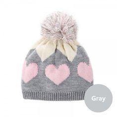 Lovely Heart beanie hat for girls winter knit hat Hairball