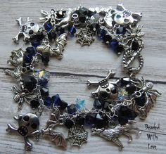 Things That Go Bump In the Night Halloween Charm Bracelet by BeadedLoveBoutique on Etsy