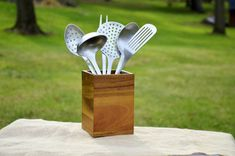 Everyday Rustic Farmhouse Decor Solid Wood Utensil Holder Container