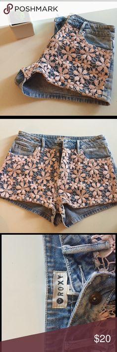 Floral Roxy Shorts 🌸 Roxy shorts. Pink floral print on the front. Super fun! I've gotten so many compliments on these shorts and you will too 🌸 Roxy Shorts Jean Shorts