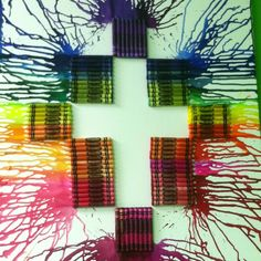Crayon Art cross but what if you put the crayons where the white is melted them then took the crayons out of the picture