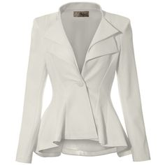 Women Double Notch Lapel Office Blazer JK43864 1073T IVORY 1X at... (1.655 RUB) ❤ liked on Polyvore featuring red white jacket, white blazer jacket, red blazer, blazer jacket and white jacket
