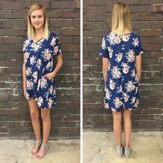 This blue floral shift dress is SO soft & it has pockets! - $47 #springfashion #spring  #fashionista #shoplocal #aldm #apricotlaneboutique #apricotlanedesmoines #shopaldm #desmoines #valleywestmall #fashion #apricotlane #newarrival  #shopalb  #ootd #westdesmoines  #shopapricotlaneboutiquedesmoines #ontrend #shiftdress #floral
