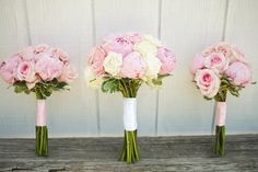 Wedding Flowers from Springwell: Pink Garden Roses and Peonies for ...