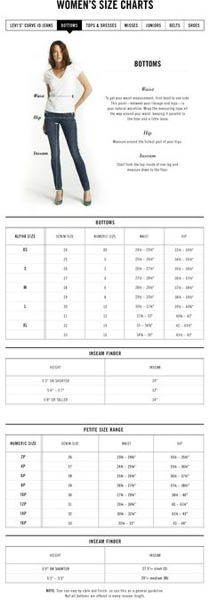 women's jeans size chart for