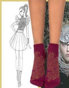 MABEL SOCKS Baroque, Socks, Age, Embroidery, Style, Needlepoint, Stylus, Sock, Stockings