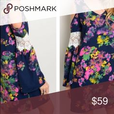"""Floral Shift Tunic Dress 100% Polyester Measurements Size S: Length 34"""" Bust 36"""" Waist 34"""" Floral Shift Dress  Long Sleeves with lace detail Exposed shoulders, v-neckline  Visit us at our Facebook Shop! https://www.facebook.com/BohoLocoFashionBoutique/ Visit us on Poshmark! https://poshmark.com/closet/fashionboholoco Lace shift Floral Midi Thigh Body conscious Bandage. Bodycon. Chiffon like overlay. Cocktail silk smooth like fabric off the shoulder blush Paisley Flared Bell Sleeve Boho Loco…"""
