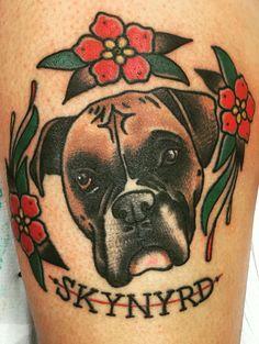 Boxer dog traditional tattoo asylum tattoo Kentucky