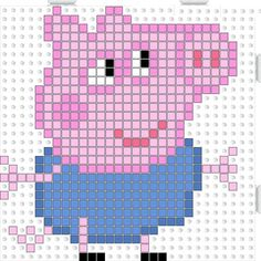 Peppa Pig George Pig hama beads pattern - could be converted to tapestry crochet Perler Bead Designs, Hama Beads Design, Hama Beads Patterns, Perler Bead Art, Beading Patterns, Cross Stitching, Cross Stitch Embroidery, Cross Stitch Patterns, Pearler Beads