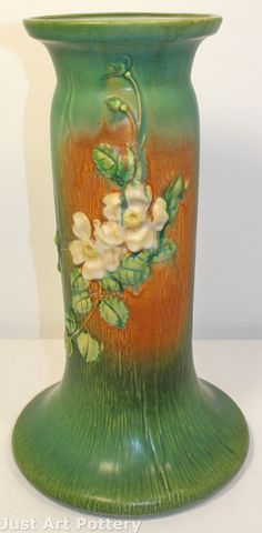 Roseville Pottery White Rose Green and Brown Pedestal 653-8 from Just Art Pottery