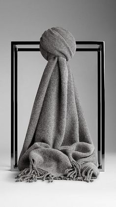 Burberry Mid grey Brushed Cashmere Scarf - A warm scarf in soft brushed cashmere. Fringing at both ends. Discover the scarf collection at Burberry.com