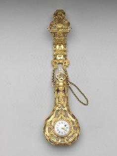 英國 約1765年 腰鍊式金鑲掛錶玻璃鼻煙壺