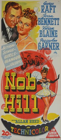 1945 Nob Hill Movie Poster  Original Vintage by OutofCopenhagen