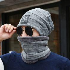 ead1ebf1f Men cold Beanies Winter hat for men scarf set warm Knitting Wool Caps mask  Women