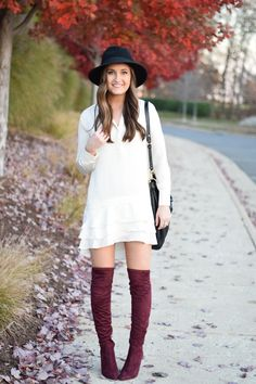6d8e054b6ab little styled life  Burgundy Over the Knee Ivanka Trump Boots Fall Fashion